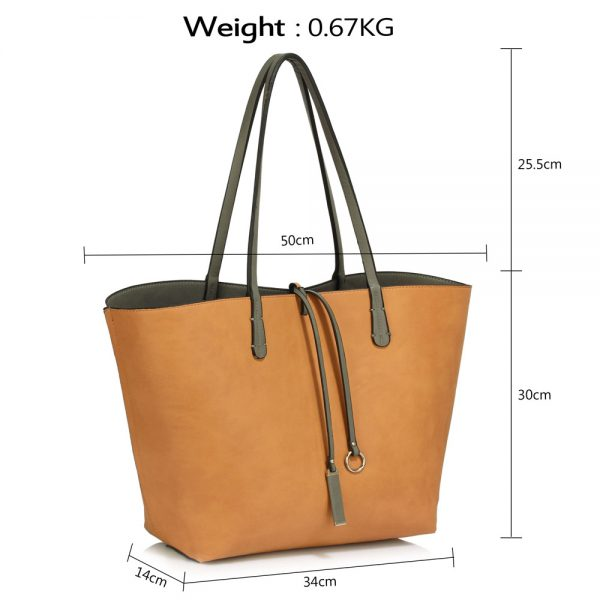 LS00393 - Reversible Black/Nude Large Tote Bag - Fits laptops up to 15.4''