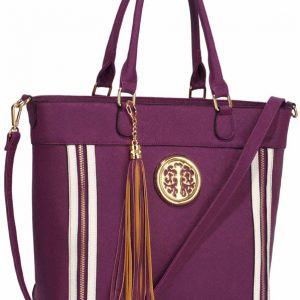 LS00404 - Purple Large Tassel Tote
