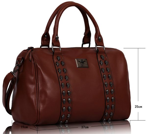 LS0050A -  Brown Stunning  Skull Studded Barrel Bag With Long Strap