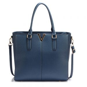 AG00420 - Navy Split Design Tote Handbag