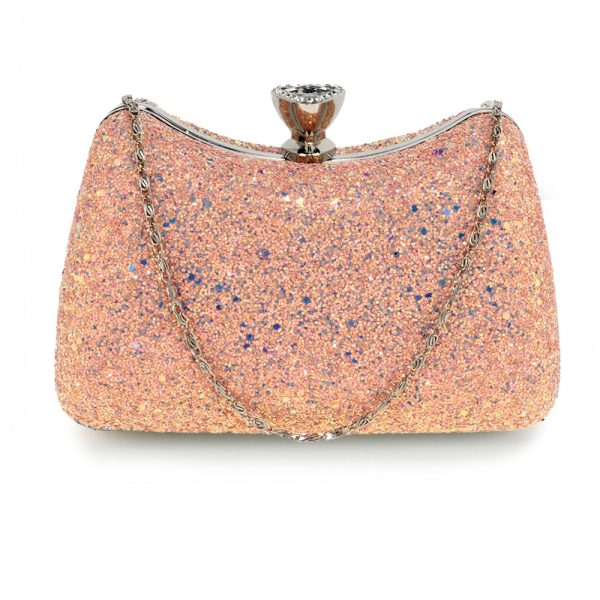 AGC00360A - Pink Hard Case Diamante Crystal Clutch Bag