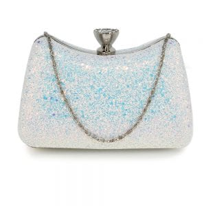 AGC00360A - Silver Hard Case Diamante Crystal Clutch Bag