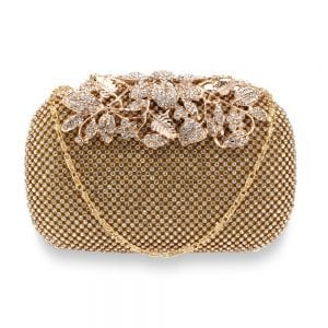 AGC00366 - Gold Rhinestone Flower Evening Wedding Clutch Bag