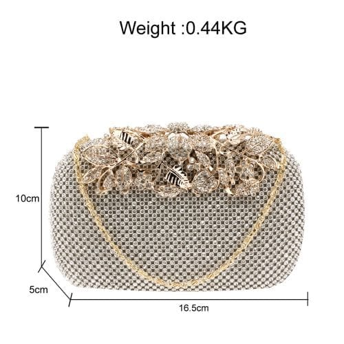AGC00366 - Silver Rhinestone Flower Evening Wedding Clutch Bag