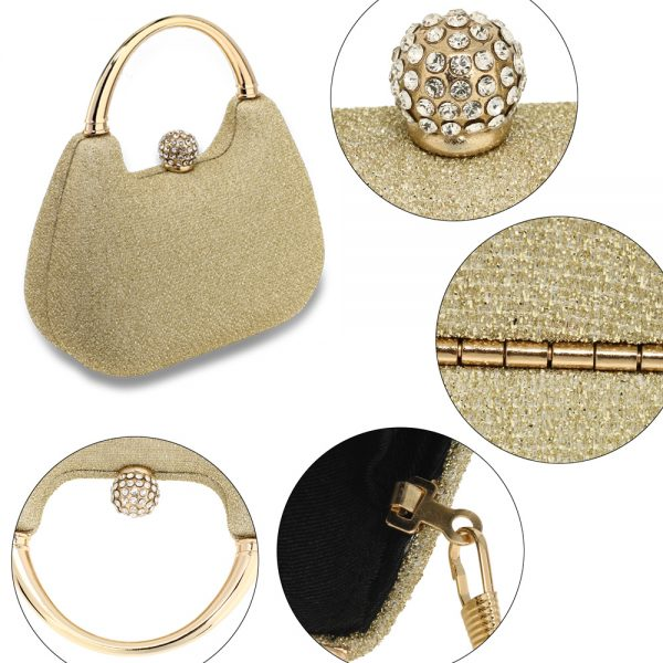 AGC00367 - Gold Rhinestone Evening Wedding Clutch Bag