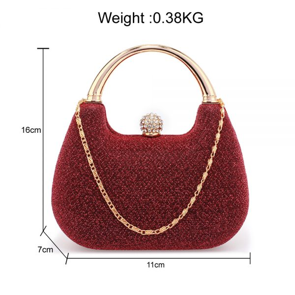 AGC00367 - Red Rhinestone Evening Wedding Clutch Bag
