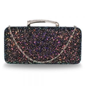 AGC00368 - Black Glitter Evening Wedding Clutch Box