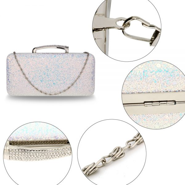 AGC00368 - Silver Glitter Evening Wedding Clutch Box