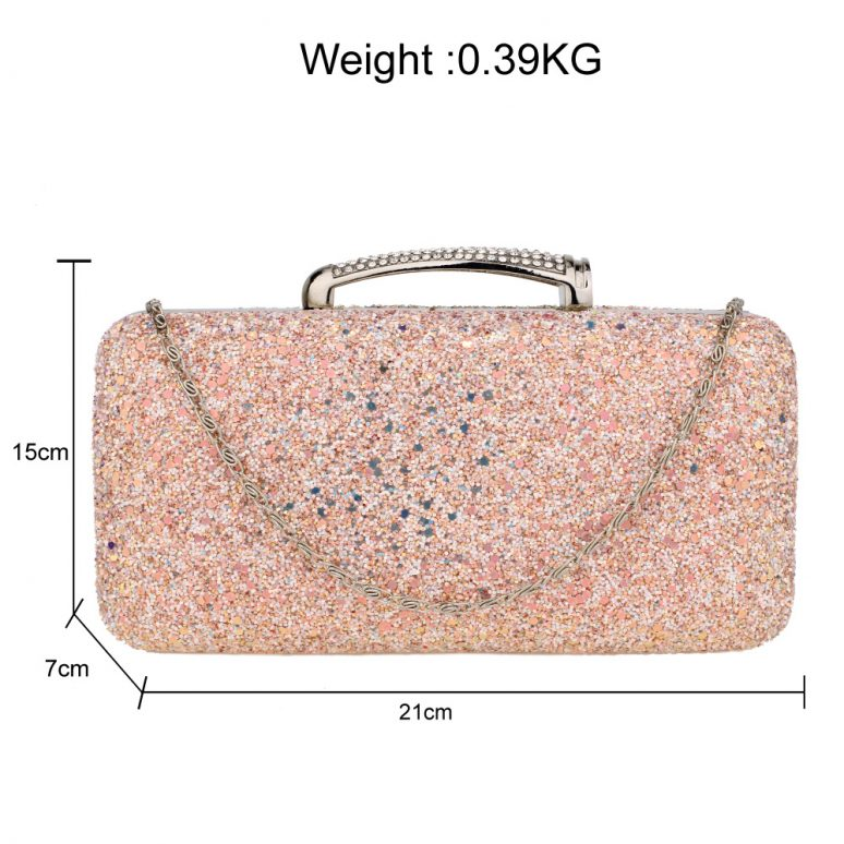AGC00368 - Champagne Glitter Evening Wedding Clutch Box