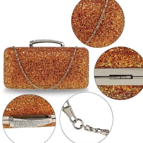 AGC00368 - Orange Glitter Evening Wedding Clutch Box