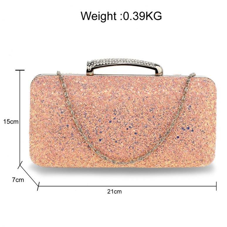 AGC00368 - Pink Glitter Evening Wedding Clutch Box