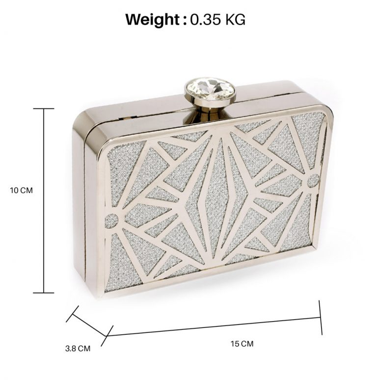 AGC0050A - Silver Hard Metal Box Clutch