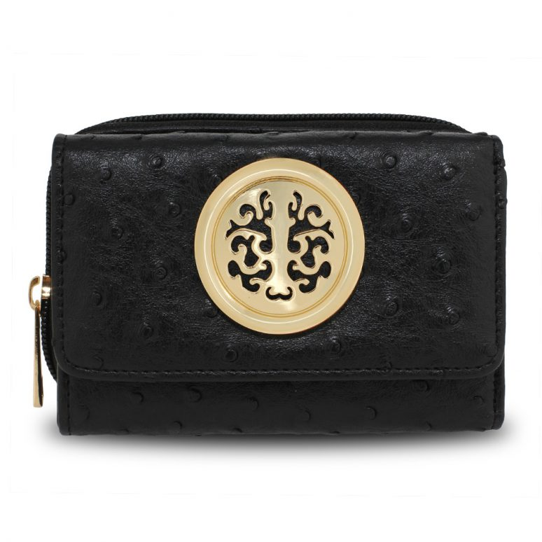 AGP5016 - Black Ostrich Skin Effect Purse  Wallet