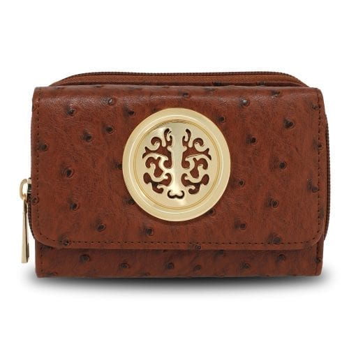 AGP5016 - Brown Ostrich Skin Effect Purse  Wallet