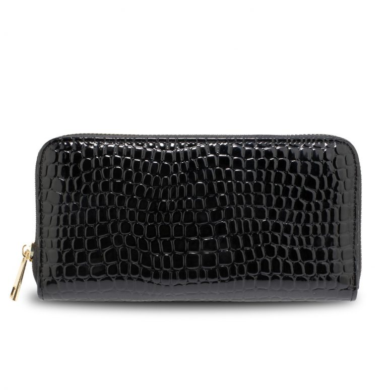 AGP5019 - Black Zip Around Crocodile Pattern Purse