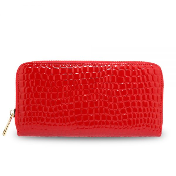 AGP5019 - Red Zip Around Crocodile Pattern Purse