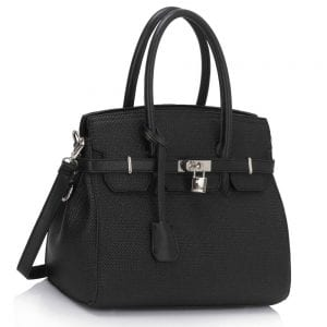 LS00140 - Black Padlock Tote With Long Strap