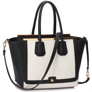 LS00239A - Black /White Metal Frame Grab Tote
