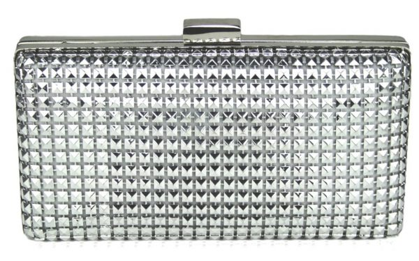 LSE00107 - Silver Hard Case Evening Clutch