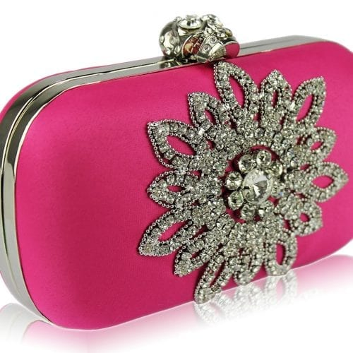 LSE00134-Pink Sparkly Crystal Satin Clutch purse