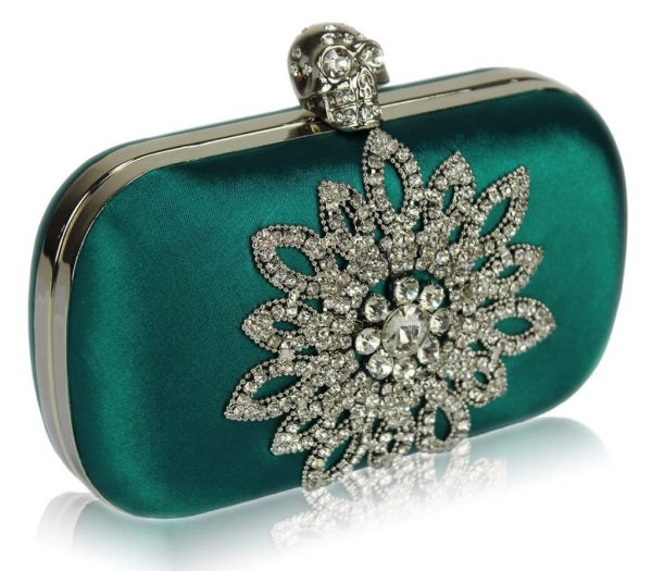 LSE00134- Teal Sparkly Crystal Satin Clutch purse