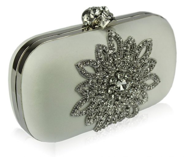 LSE00134- Ivory Sparkly Crystal Satin Clutch purse