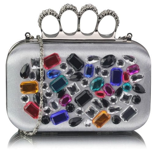 LSE00171 - Silver Knuckle Rings Clutch With Crystal Decoration
