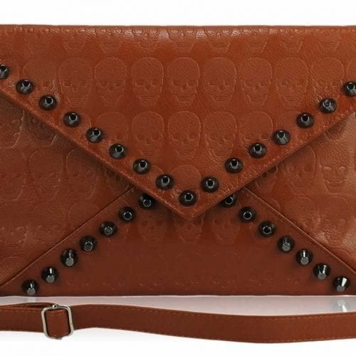 LSE00181 - Brown Skull Flapover Clutch Purse
