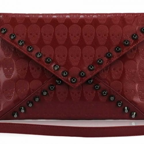 LSE00181 - Red Skull Flapover Clutch Purse