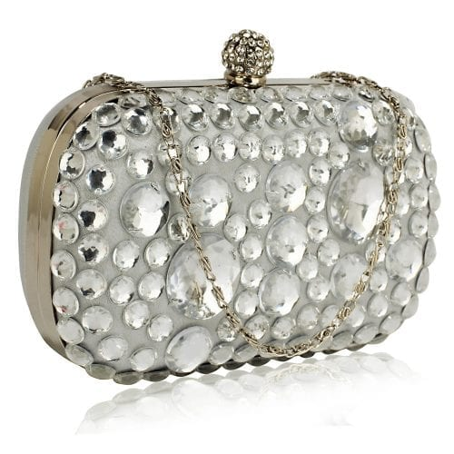 LSE00210 - Silver Sparkly Crystal Satin Clutch purse