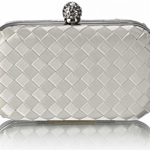 LSE00213 - Gorgeous Ivory Hard Case Evening Bag