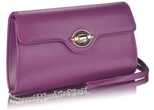 LSE00255 - Purple Twist Lock Flapover Clutch Purse