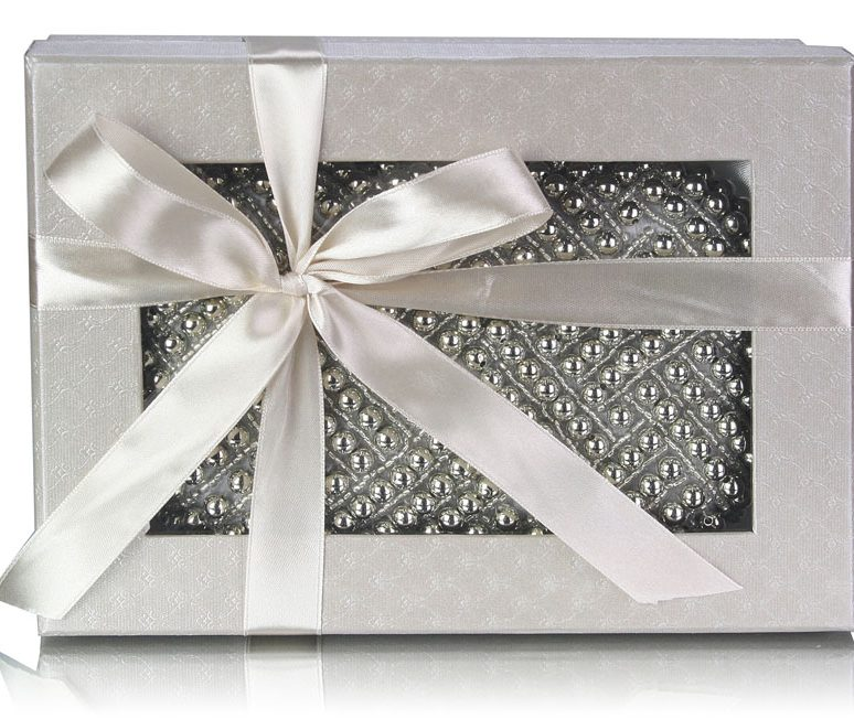 LSE00283 - Silver Beaded Pearl Rhinestone Clutch Bag