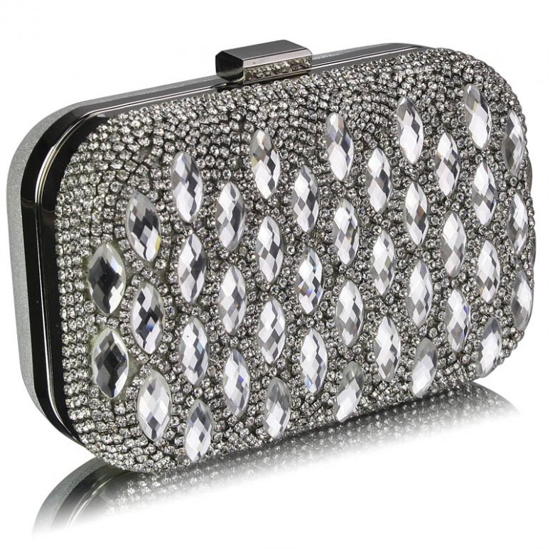LSE00284 - Silver Sparkly Crystal Evening Clutch Bag