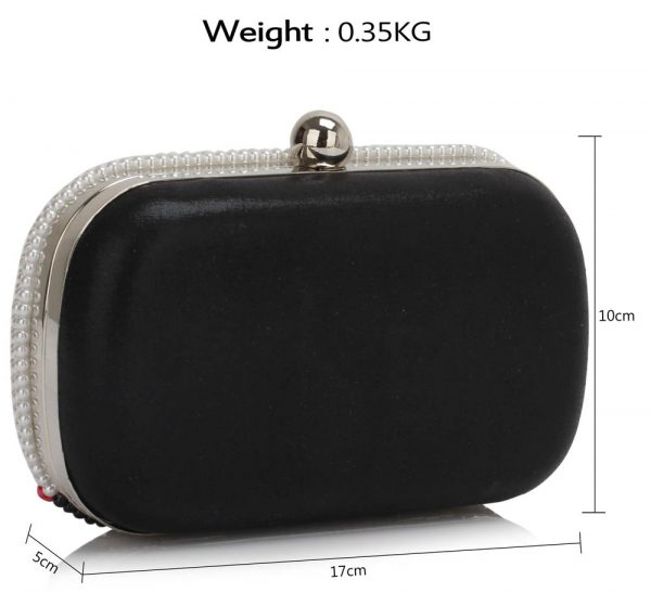 LSE00301 - Black/ White Beaded Rhinestone Clutch Bag