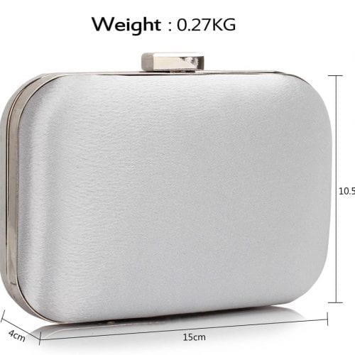 LSE00312 - Ivory Clutch Bag With Diamante Decorative Strips