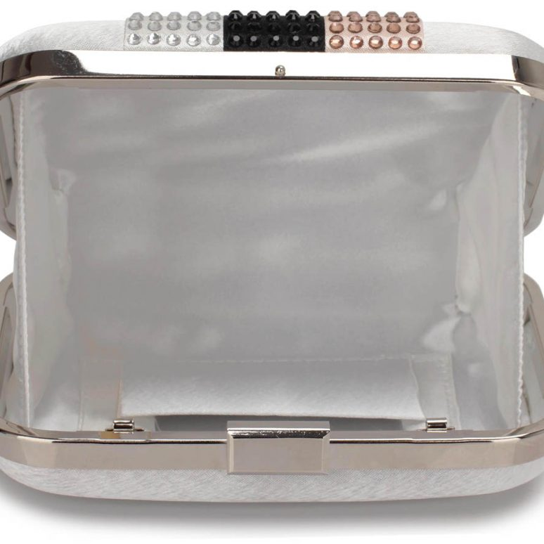 LSE00312 - Silver Clutch Bag With Diamante Decorative Strips