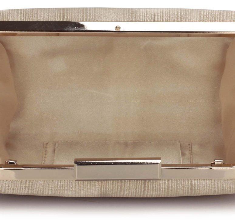 LSE00314 - Nude Satin Clutch Evening Bag