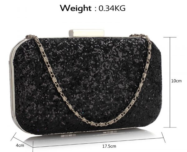 LSE00323 - Black Sequin Clutch