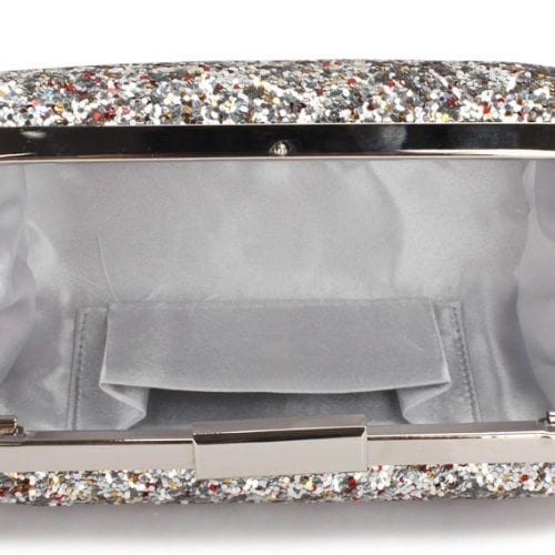 LSE00323 - Silver Sequin Clutch