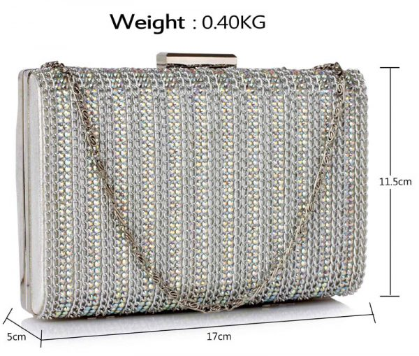 LSE00333 - Silver Clutch Bag With Diamante Decorative Strips