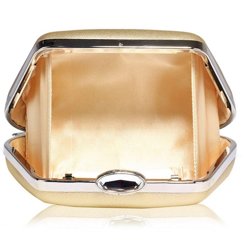 LSE00334 - Gold Diamante Crystal Clutch Bag