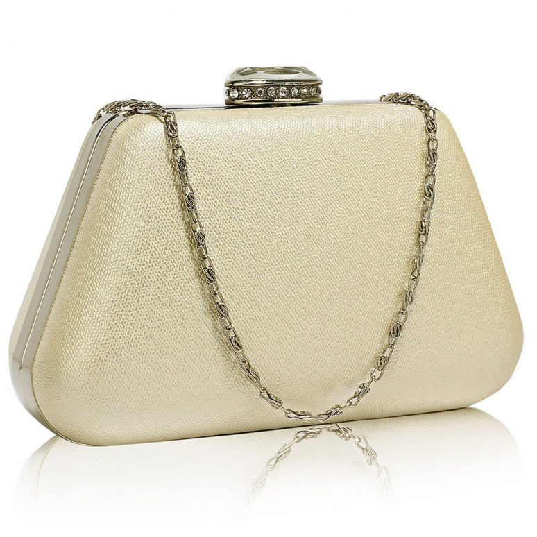 LSE00334 - Ivory Diamante Crystal Clutch Bag