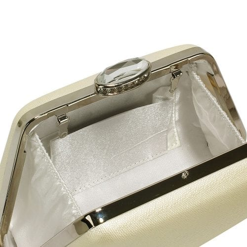 LSE00334 - Ivory Diamante Crystal Clutch Bag