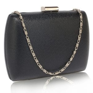 LSE00335 - Black Hard Case Evening Bag