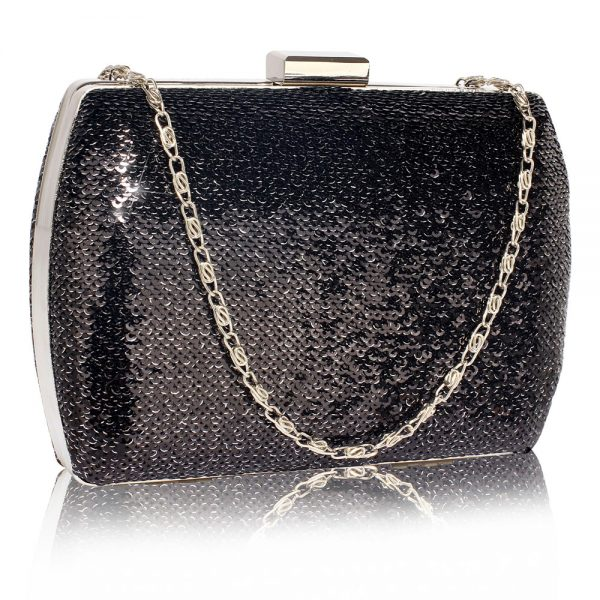 LSE00336 - Black /Silver Sequin Clutch