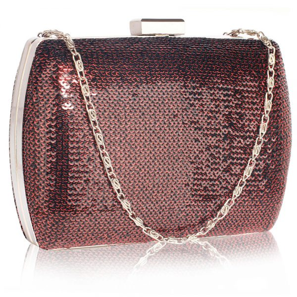 LSE00336 - Burgundy Sequin Clutch