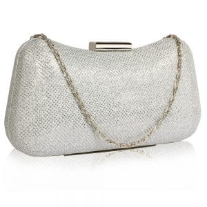 LSE00337 - Silver Hard Case Evening Bag