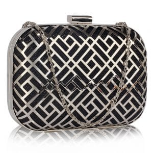 LSE00338 - Black Metal Mesh Clutch Bag