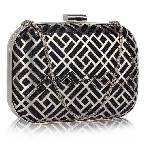 LSE00338 - Black Metal Mesh Clutch Bag